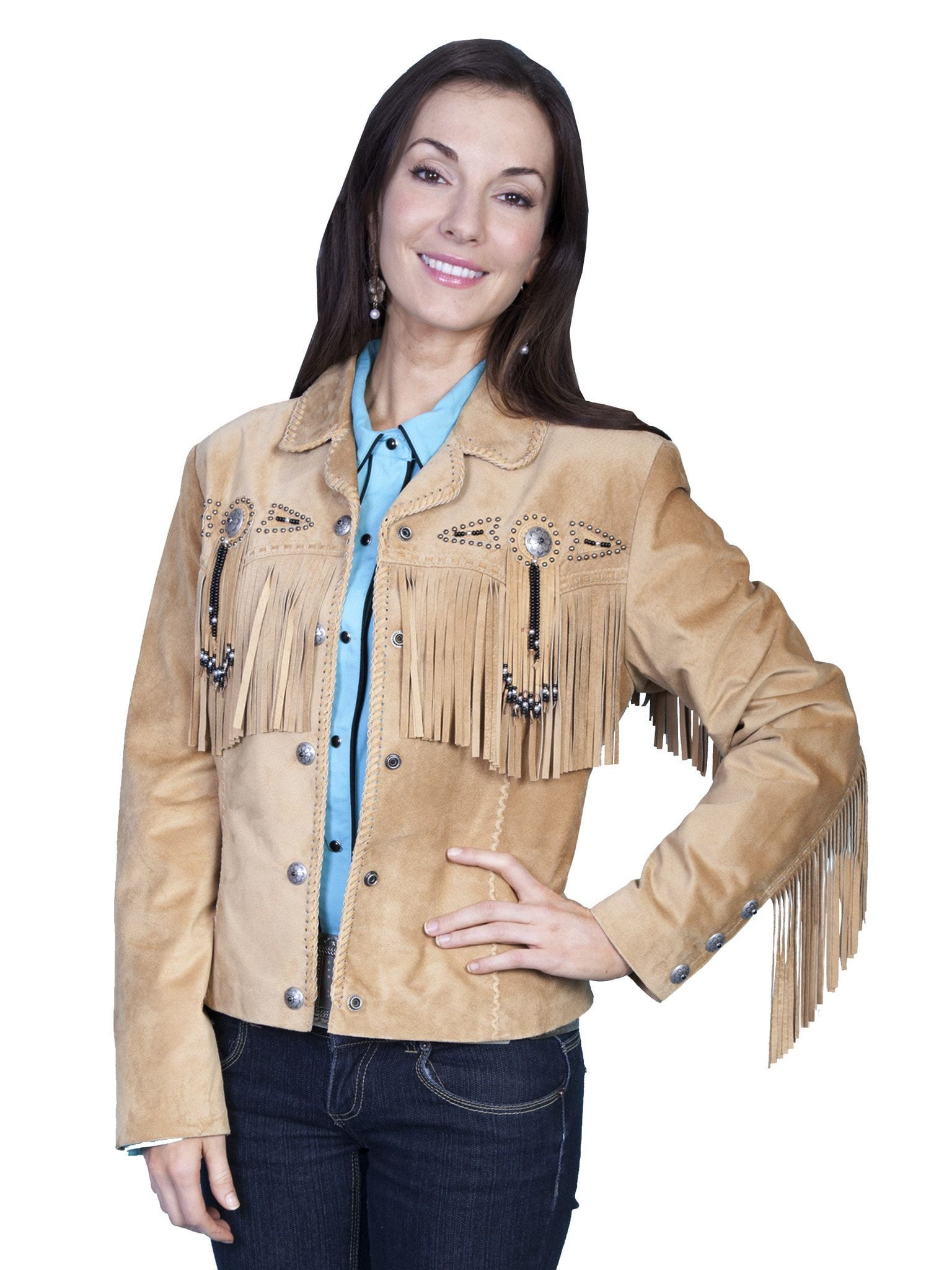 Scully Leather Womens Beaded Fringe Conchos Boar Suede Jacket Old Rust