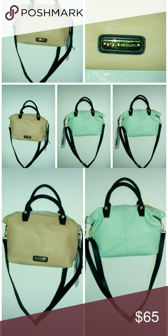 Steve Madden Beige/Mint Bag Beige on the front and mint on the back /long straps to hook & unhook Steve Madden Bags Totes