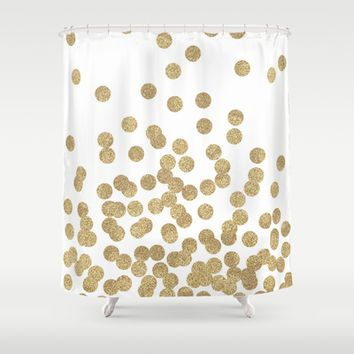 Gold Glitter Dots In Scattered Pattern Shower Curtain By CharlotteWinter