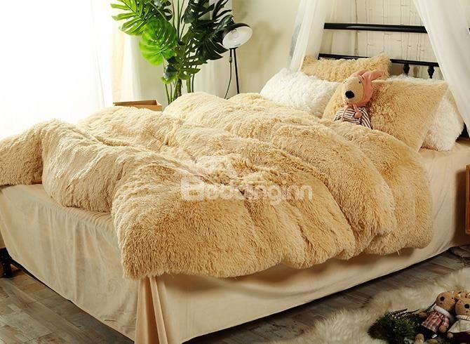 Full Size Light Khaki Super Soft Plush 4 Piece Fluffy Bedding Sets