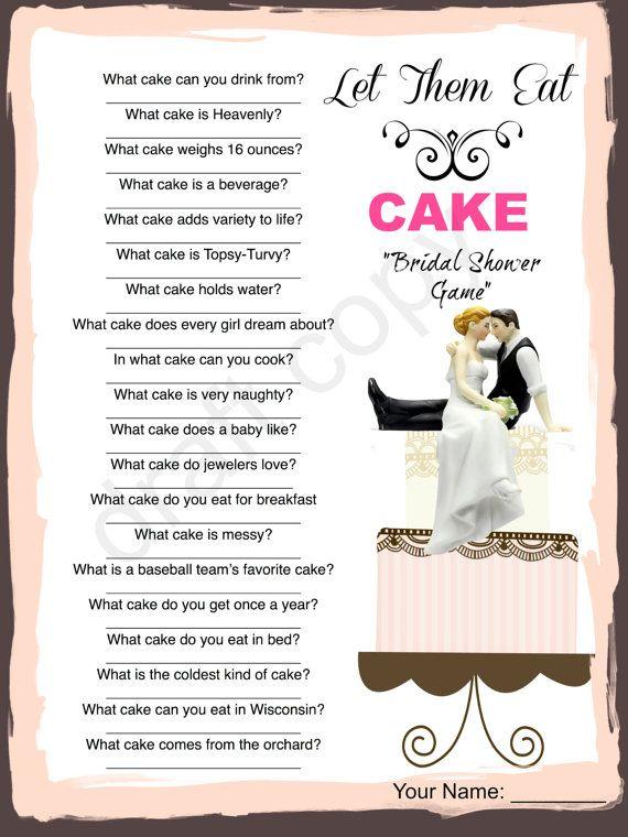 bridal shower game cake trivia instant download
