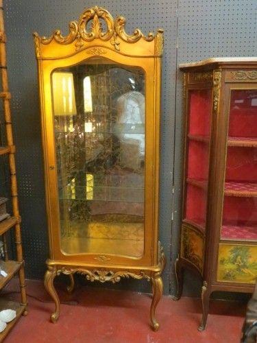 SOLD. SALE! Now $795, orig. $995. Vintage antique gilt #French Louis XV style #vitrine #displaycase, circa 1940s
