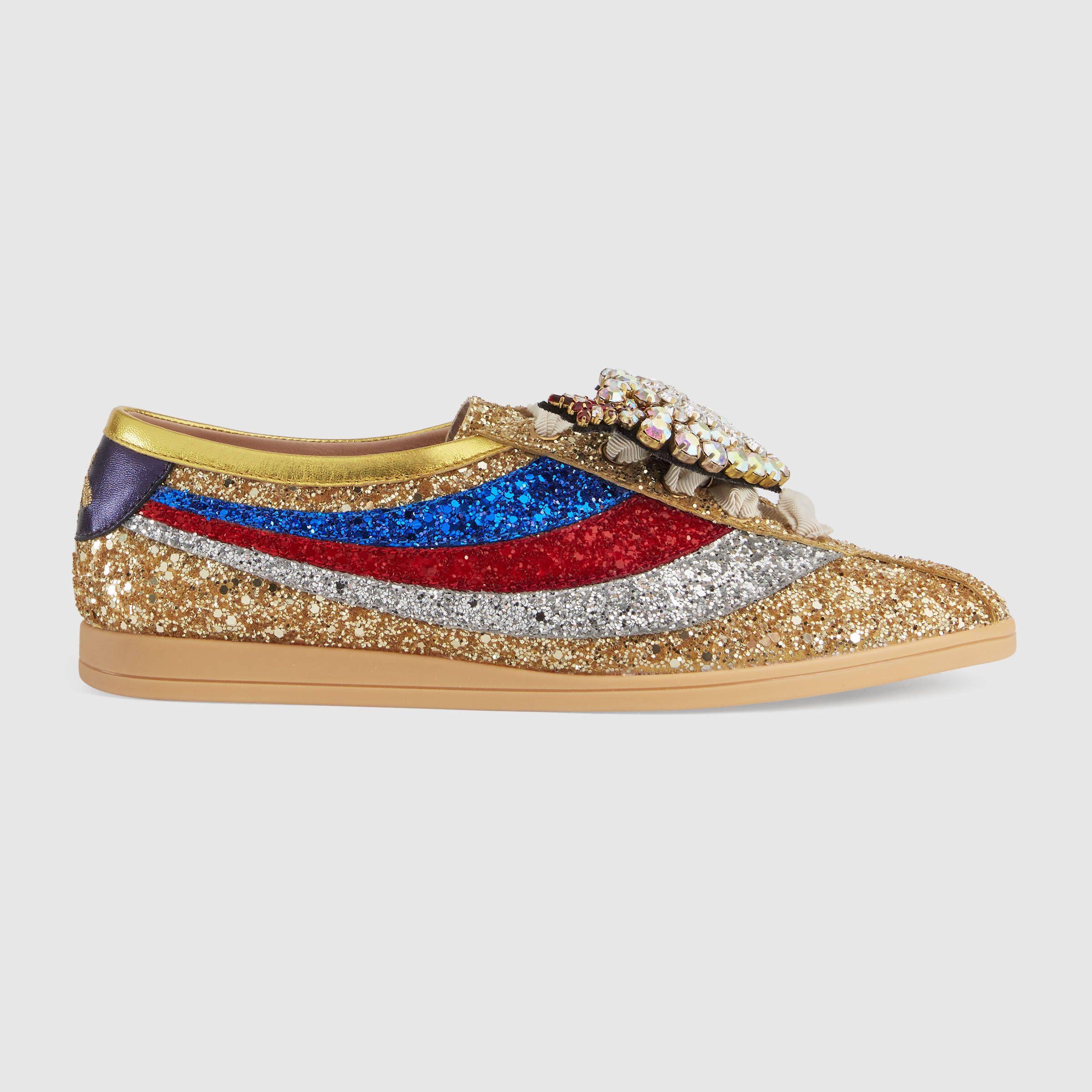 c1b4896722e3 Falacer glitter sneaker with Web - Gucci Women's Sneakers 494609KSPE08072