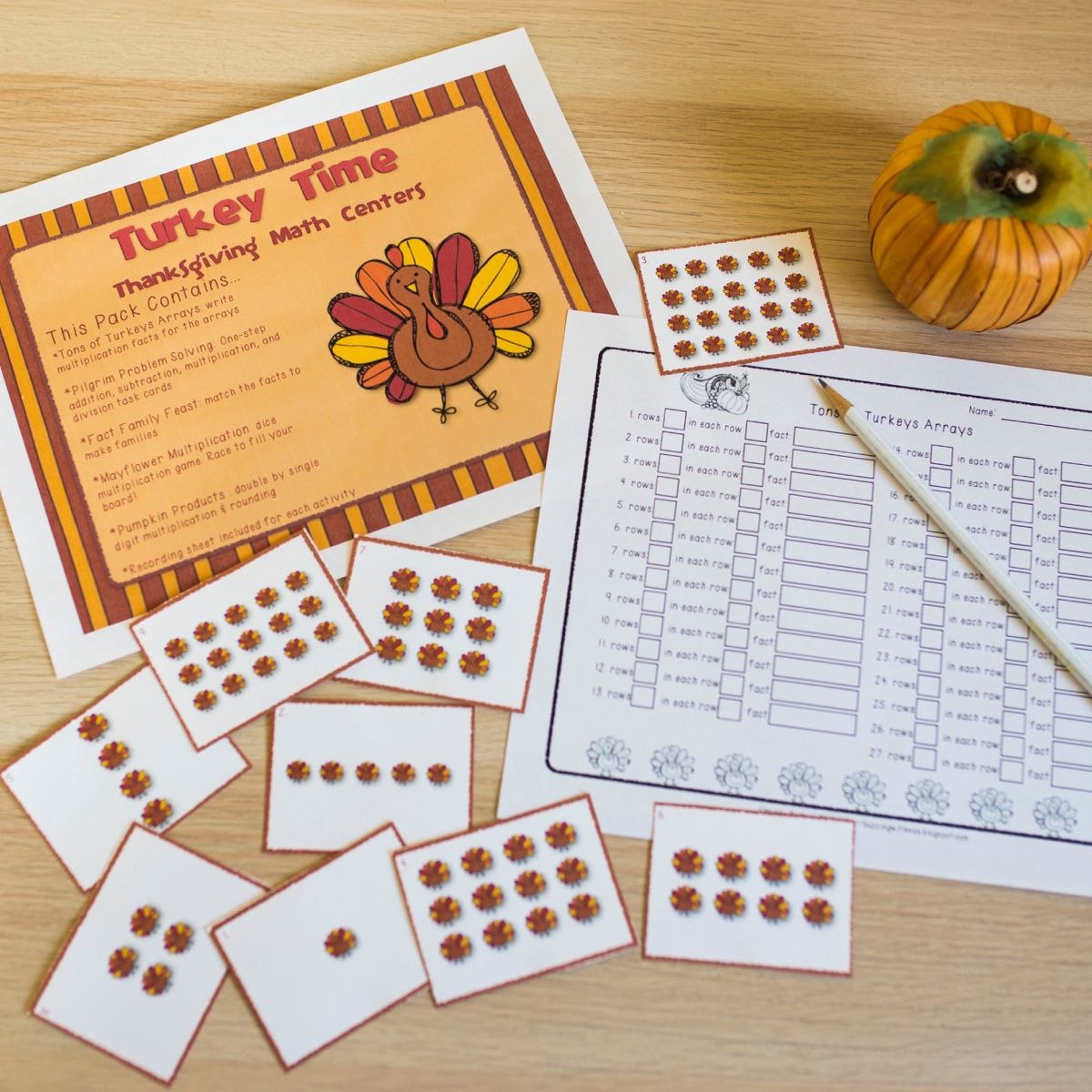 Turkey Time Thanksgiving Math Centers Multiply Round
