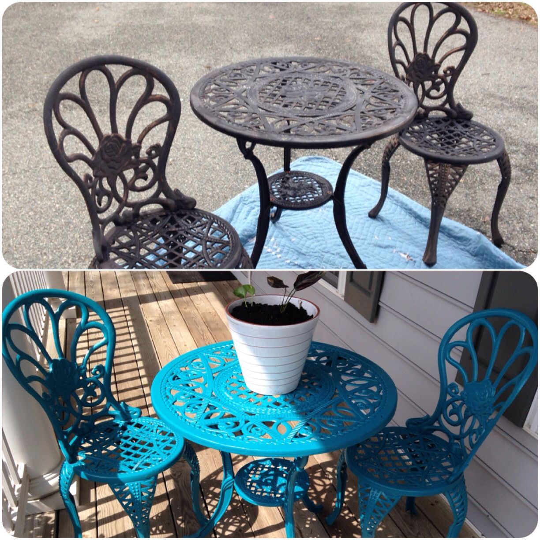 Metal bistro set...spray painted Patio furniture