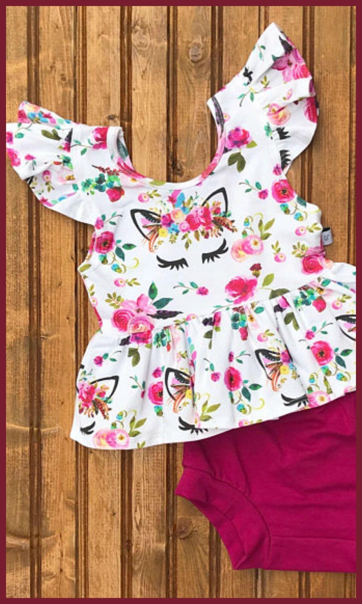 1c465e43f32 Baby Toddler Girls floral unicorn ruffle peplum top and bloomer gym shorts  set #unicorn #affiliate