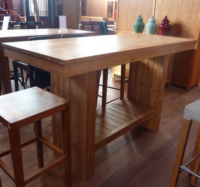 bartisch – esstisch hoch aus recyceltem teakholz 180x75cm, Esstisch ideennn