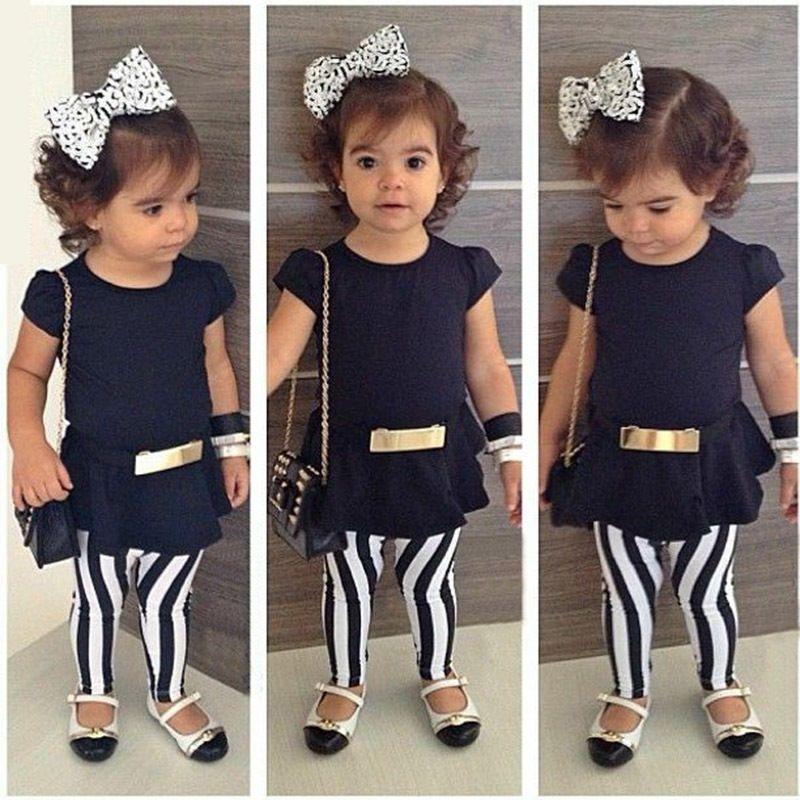 Adorable nouveau-né Kid Baby Girls Summer Tops Pantalon Rayé Shorts Tenues Vêtements