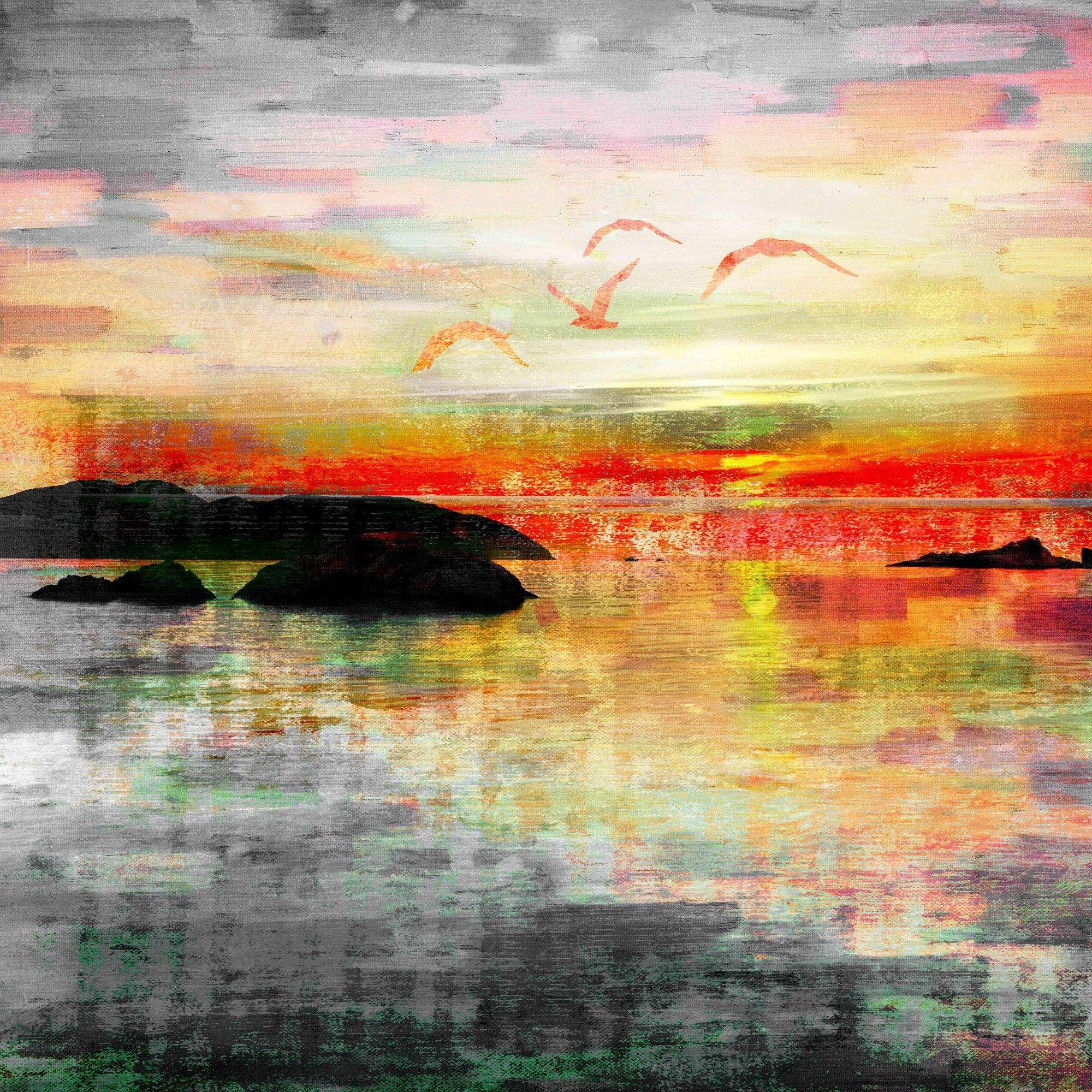 Birds In The Sunset\' by Parvez Taj Painting Print on Wrapped Canvas ...