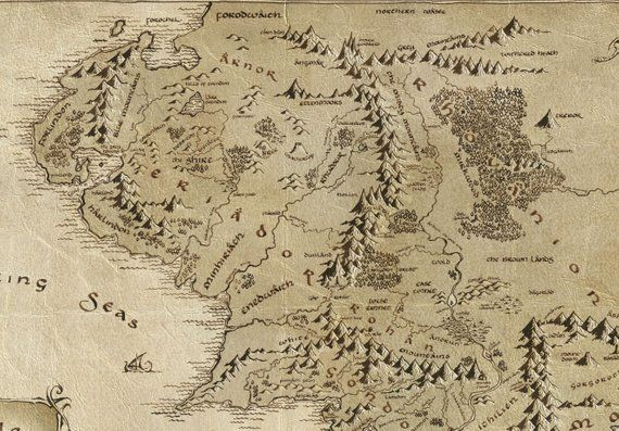 Middle Earth map, Middle Earth poster, Tolkien map, LOTR ... on elves in the hobbit, lotr in the hobbit, gollum in the hobbit, aragorn in the hobbit, arwen in the hobbit, the shire in the hobbit, rivendell in the hobbit,