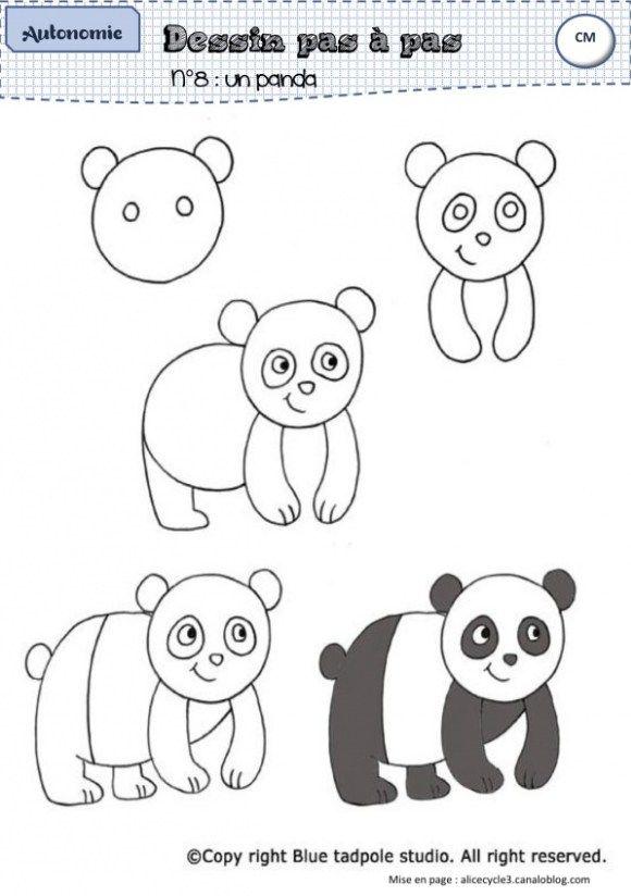 Apprendre a dessiner un panda enfants id er til tegning tegninger et l r at tegne - Coloriage panda maternelle ...
