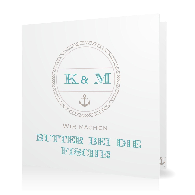 Hochzeitseinladung Butter bei die Fische in Taupe - Klappkarte quadratisch #Hochzeit #Hochzeitskarten #Einladung #elegant #modern https://www.goldbek.de/hochzeit/hochzeitskarten/einladung/hochzeitseinladung-butter-bei-die-fische?color=taupe&design=1585f&utm_campaign=autoproducts