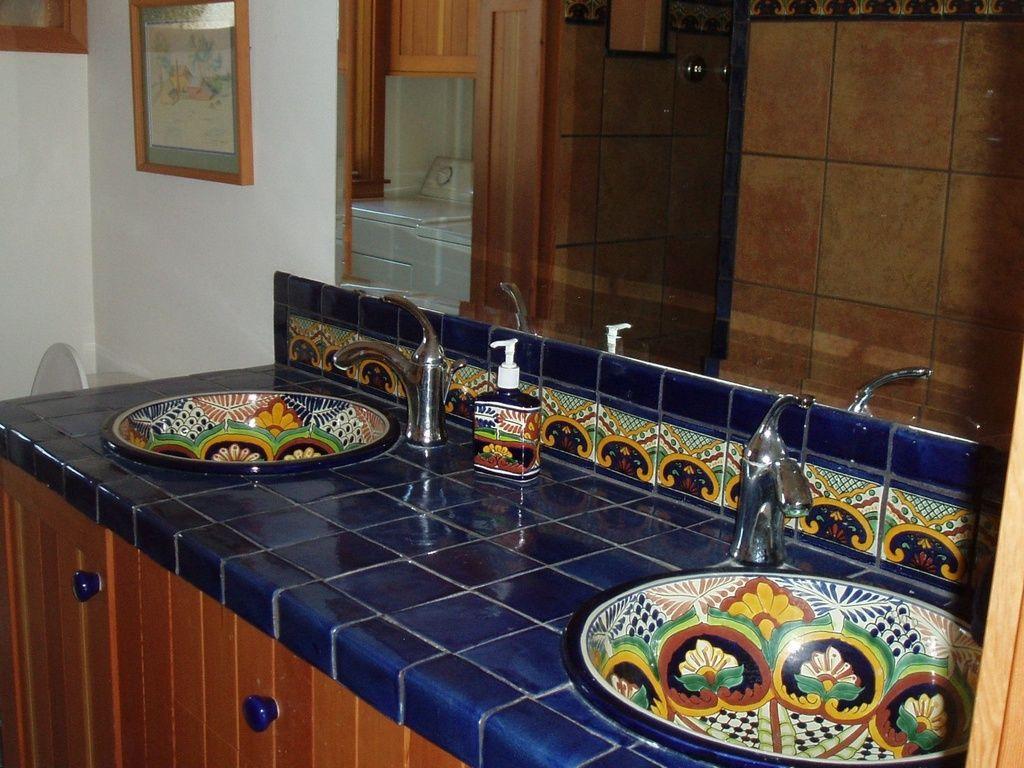 Mediterranean Master Bathroom with High Ceiling Dark Blue Mexican