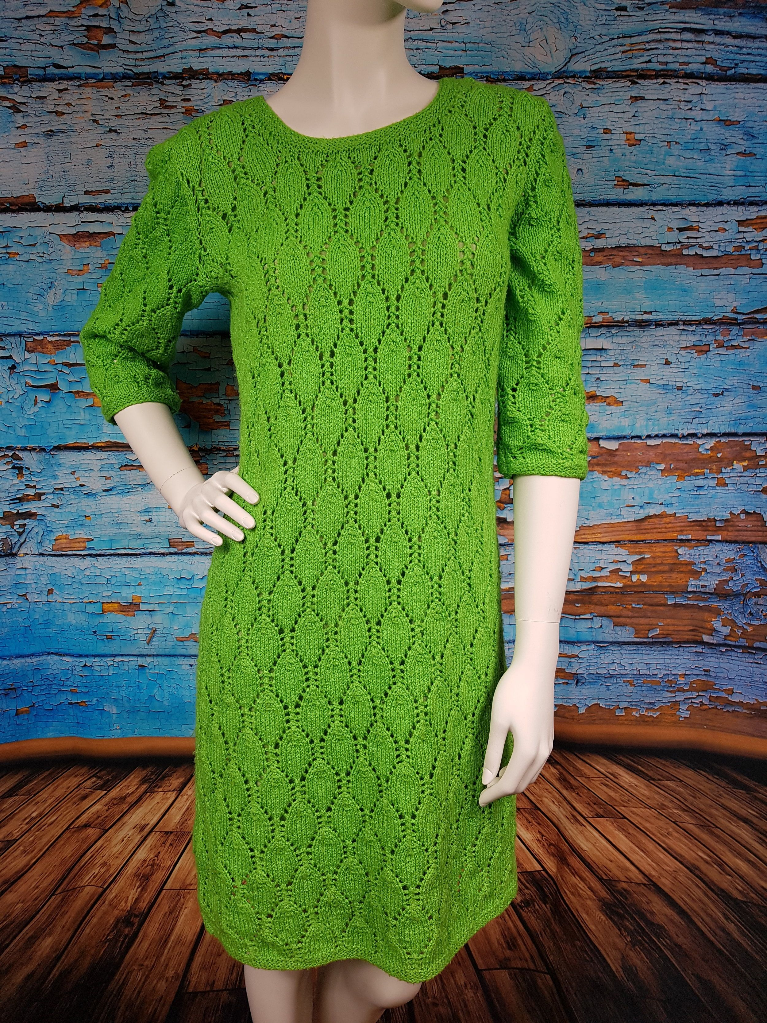 60s green dress  s  s hand knitted green dress fully lined  vintage fashion