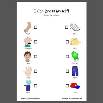 Match body parts with clothing in this free pdf sample at