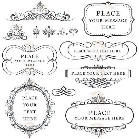 Flourish frame calligraphy vintage digital clip by
