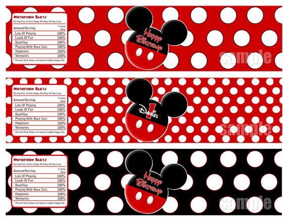 mickey mouse water bottle label mickey by