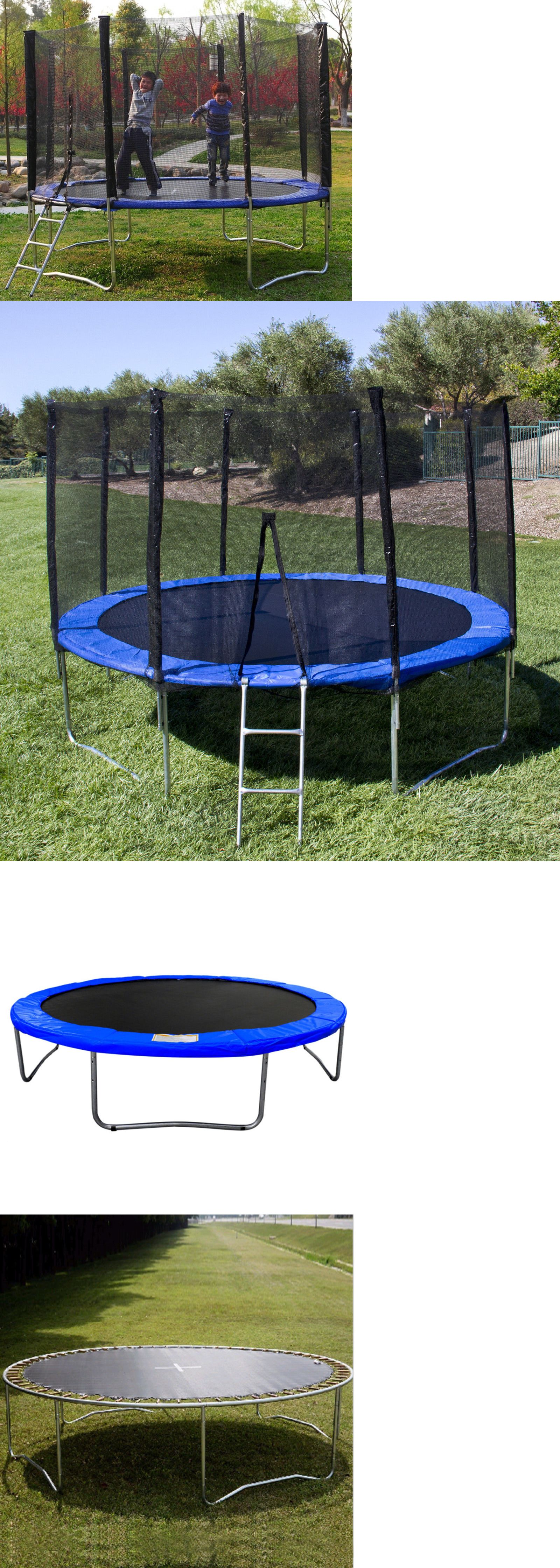 Trampolines 145999 Blue 12 Ft Round Trampoline With Safety Net Enclosure Ladder And Frame Safe Buy It Now Onl Trampoline Best Trampoline Kids Trampoline