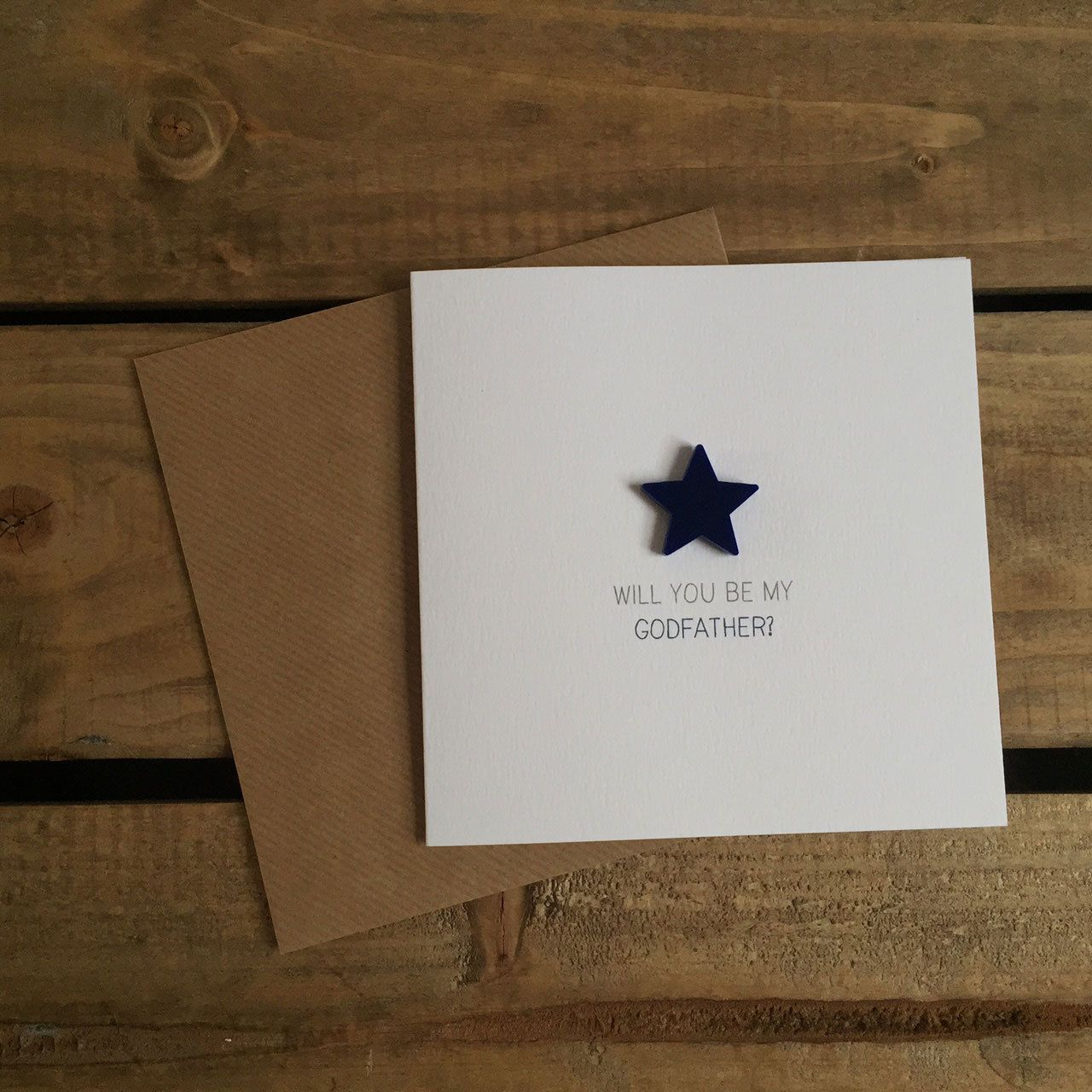 Will You Be My Godfather Card With Detachable Navy Star Magnet