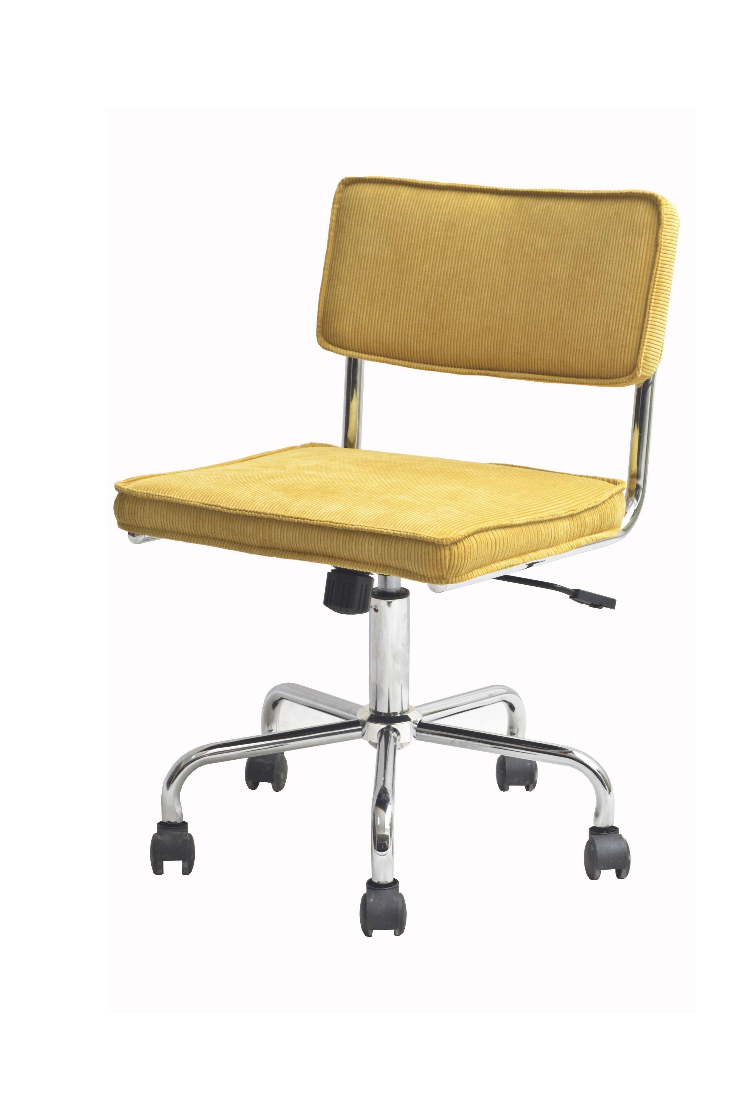 Sevilla Kontorstol - Smart retro-inspireret kontorstol med polstret sæde i karrygult fløjlsstof og et flot stel i krom. Kontorstolen har desuden en praktisk hæve/sænke funktion og har hjul. Anvend denne unikke kontorstol i hjemmekontoret eller brug den som anderledes spisebordsstol.