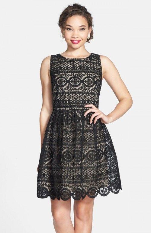 Soprano Fancy Lace Skater Dress Juniors | Clothing