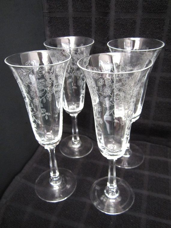 Lenox Crystal Garden Etched Champagne Glasses By