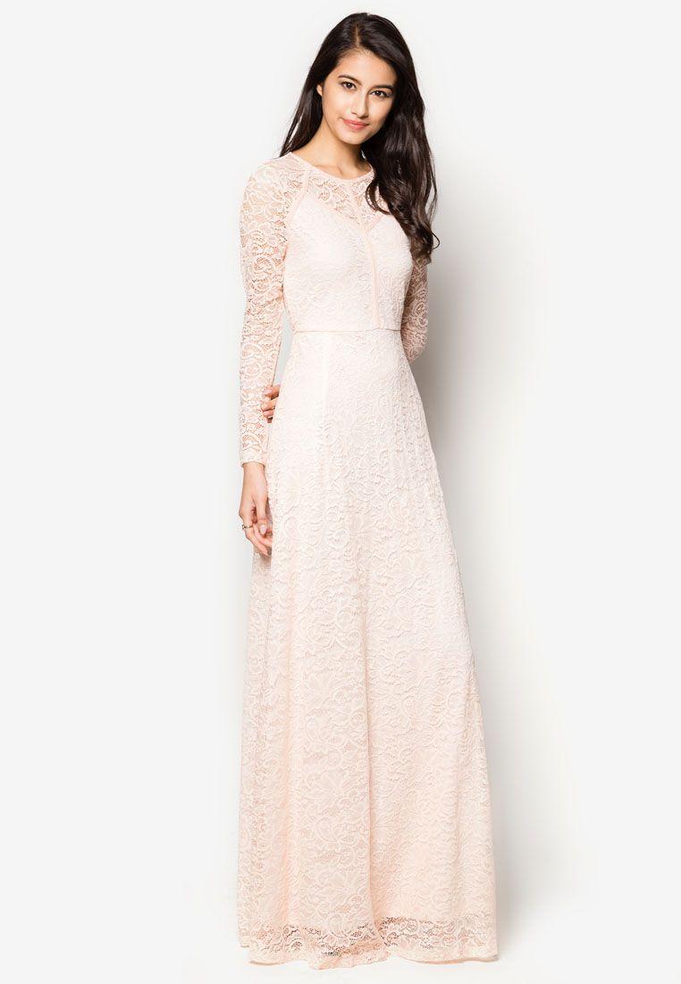 bcda59d503925 Zalia Contrast Lace Fit & Flare Maxi Dress   ZALORA SINGAPORE saved by  #ShoppingIS