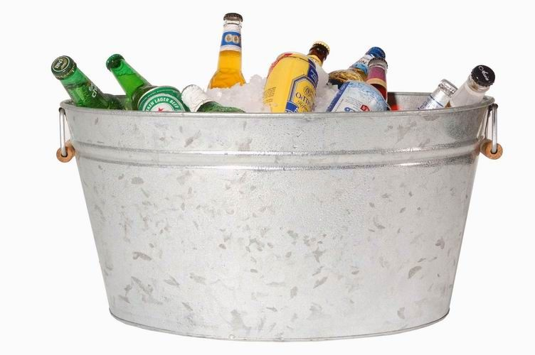 Wedding Cold Beer Here Summer BBQ ICE BUCKET Vintage Shabby Chic BEER TIN.