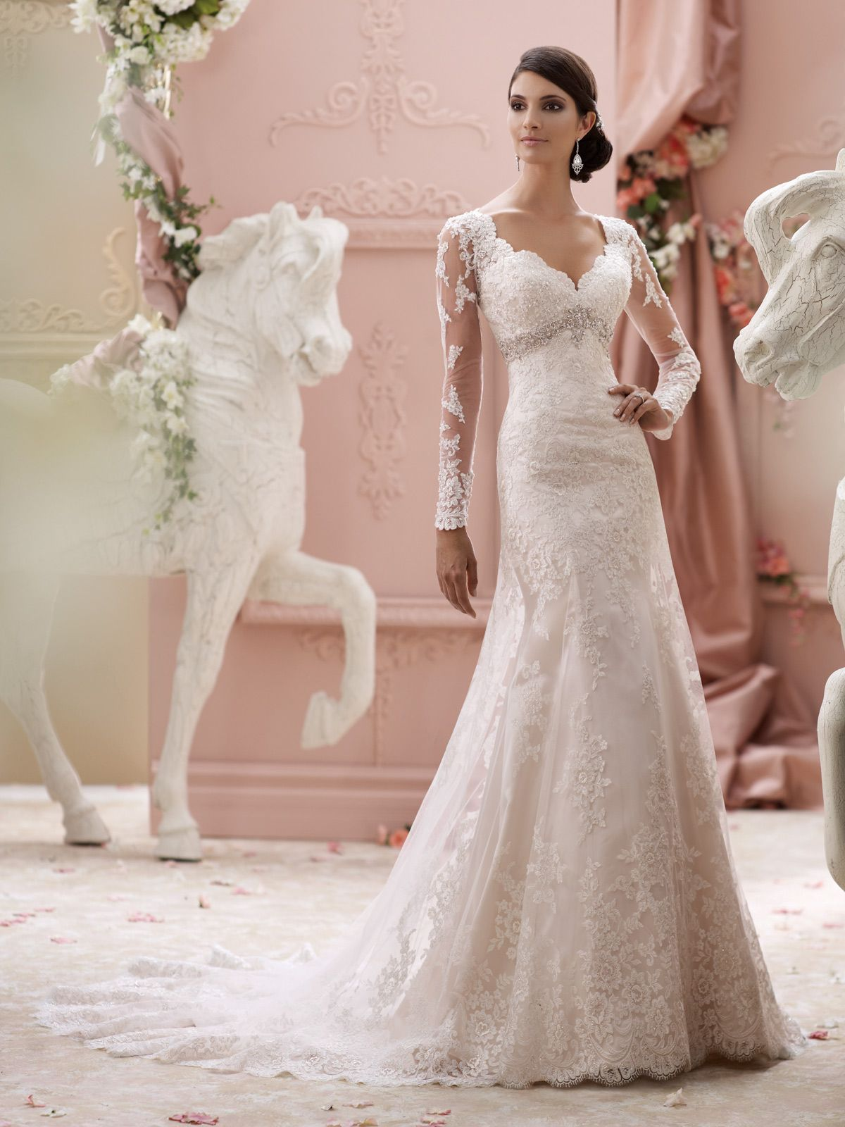 David Tutera for Mon Cheri Spring 2015 Collection - love the sleeves ...