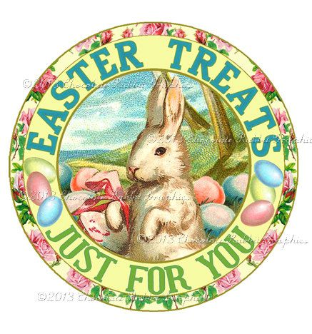 Easter Candy Treats Bunny Label Digital by chocolaterabbit on Etsy, $2.25