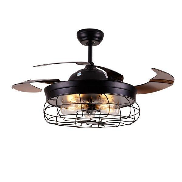 42 Ceiling Fans Invisible Retractable Blades Farmhouse Industrial Pendant Lamp Chandelier Remote Control 5 Edison Bulbs Ceiling Fan With Light Chandelier Fan Retro Ceiling Fans