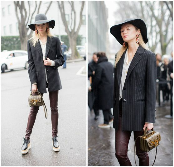Anastasiia Masiutkina - J.Crew Hat, Vintage Jacked, Paula Cademartori Bag, Elena Burenina Leather Trousers, Stella Mccartney Britt Shoes - Armani show day at Milan Fashion Week