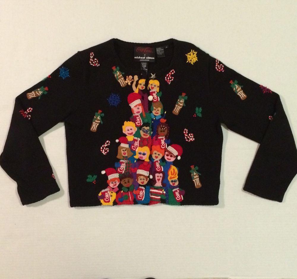 Michael Simon Coca Cola Coke Beaded Christmas Holiday Sweater Cardigan SZ M Vtg #MichaelSimon #Sweater