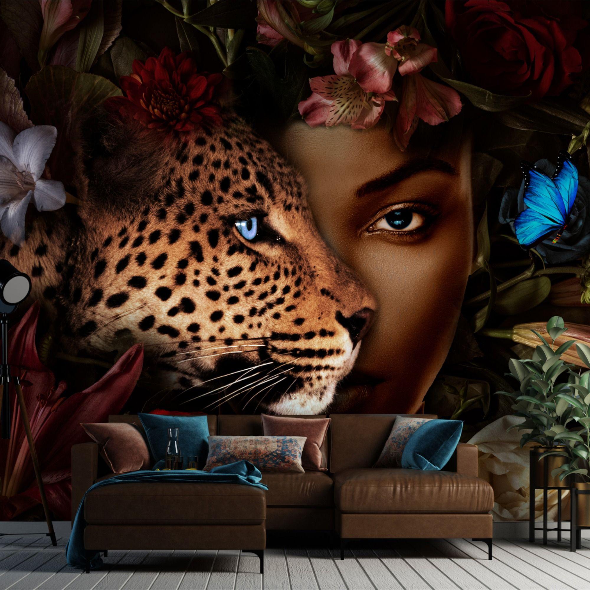 Dark Wallpaper Floral Wallpaper Leopard Wall Mural Black Etsy Floral Wallpaper Dark Wallpaper Wallpaper