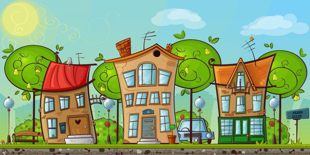 Мультяшные домик и дерево (с изображениями) | Уроки по ...