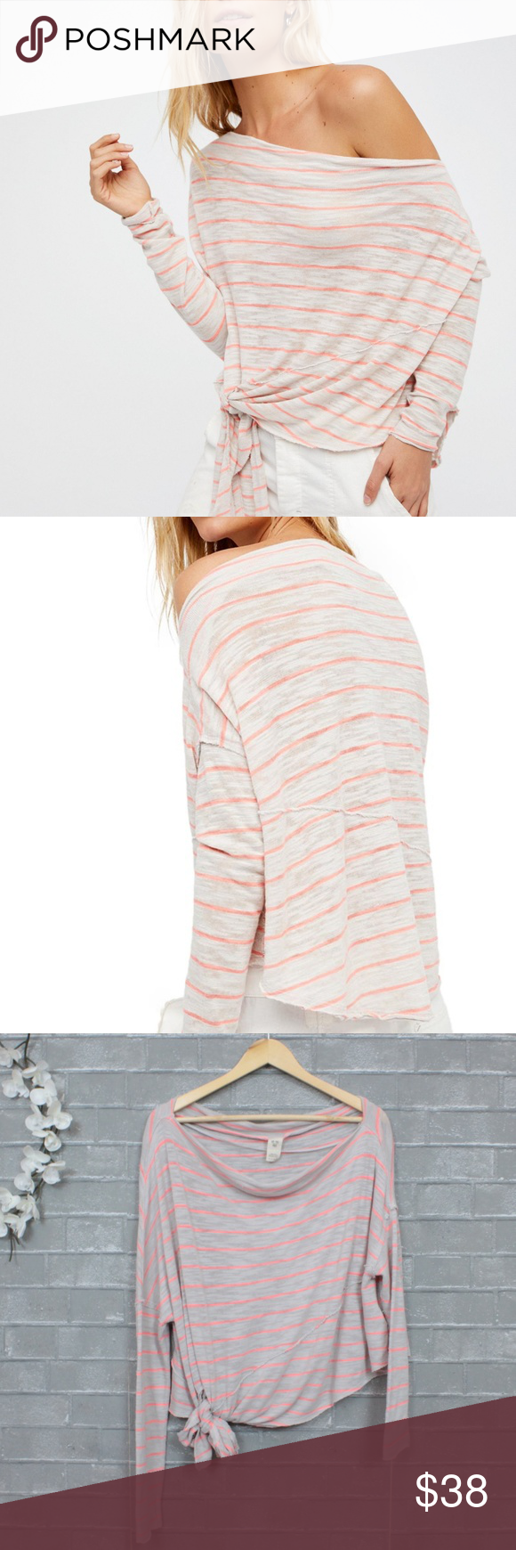 8d0cb1060d Free People Love Lane Striped Off the Shoulder Tee Love Lane Tee in  grey/orange coral stripe by We the Free. NWOT. Size L. Perfectly slouchy,  relaxed fit.