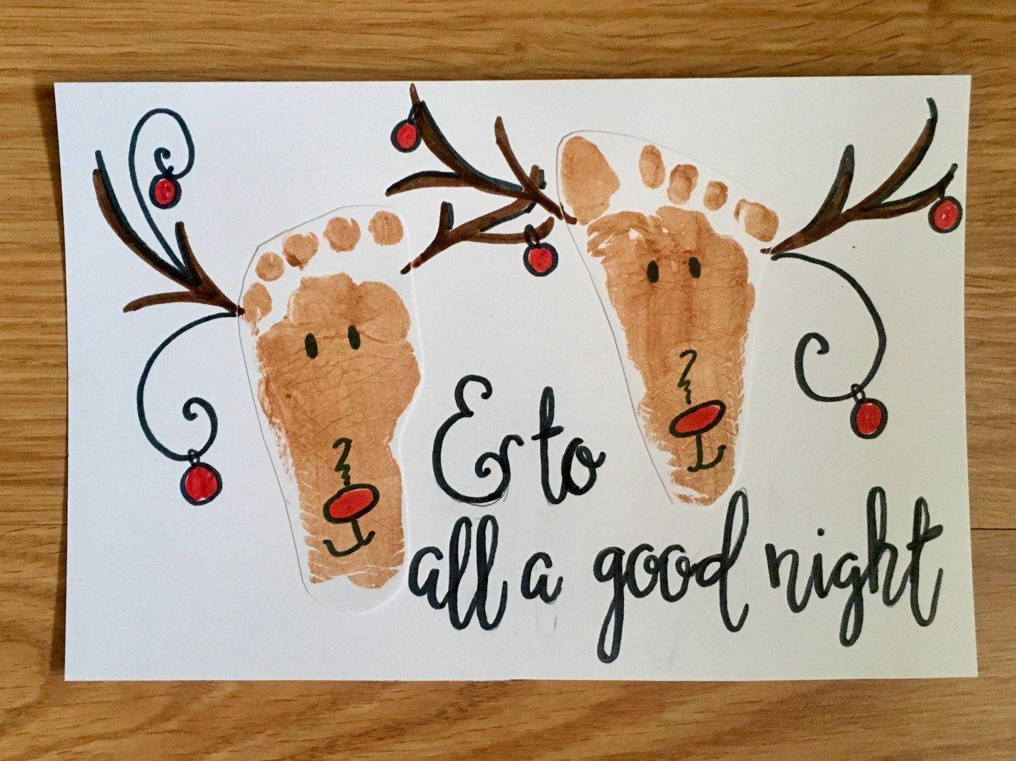 Christmas footprint crafts: perfect Christmas art for lifelong mementos. Mice, reindeer, mistletoe & Christmas tree footprint keepsakes for baby's first Chr #mistletoesfootprintcraft