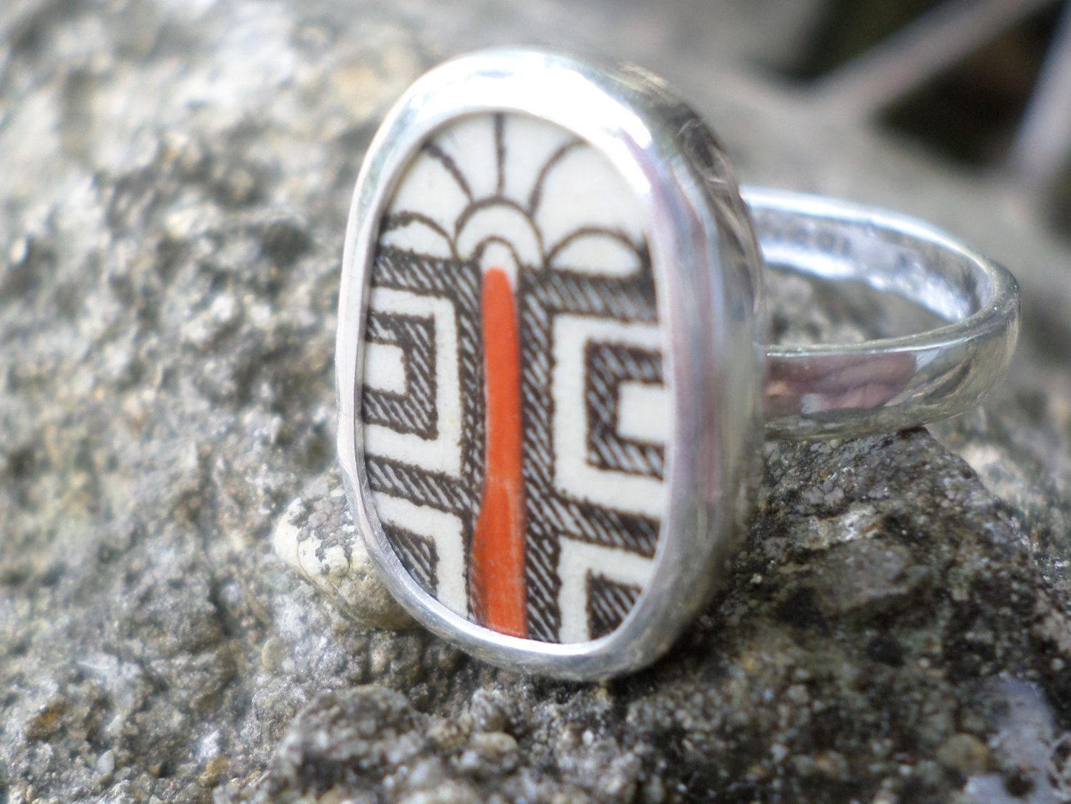 Broken China Ring Chaney Sterling Silver Black Red Abstract Any Size Old China by MaroonedJewelry on Etsy
