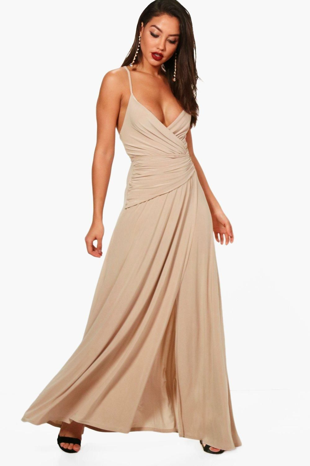 Slinky Wrap Ruched Strappy Maxi Bridesmaid Dress Boohoo Cheap Maxi Dresses Bridesmaid Dresses Bridesmaids Dress Inspiration [ 1500 x 1000 Pixel ]