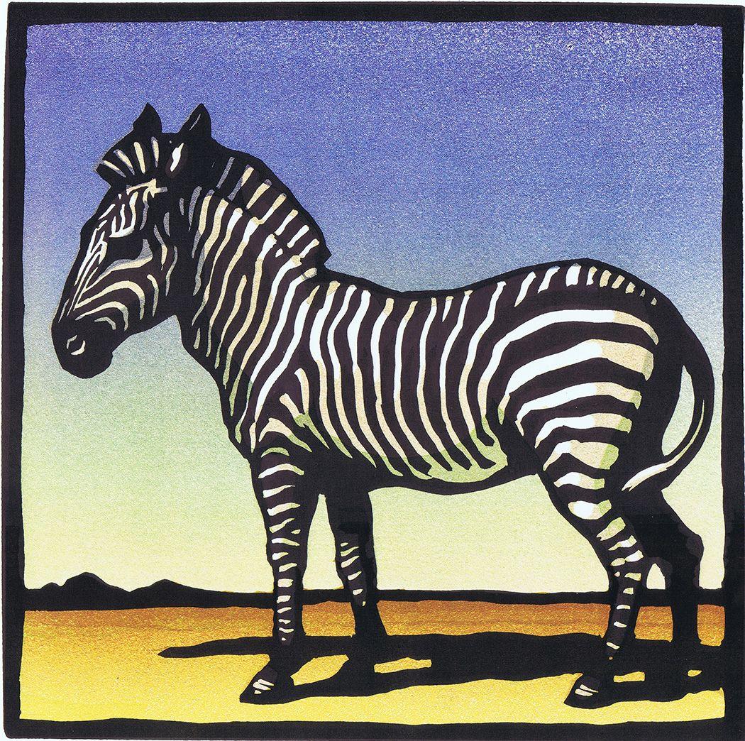 Zebra, linoleum block print with multiple blocks by Christopher ...