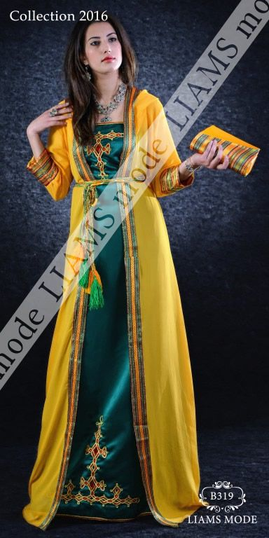 B319 jaune vert kabylie pinterest robe caftans and for Haute kabylie