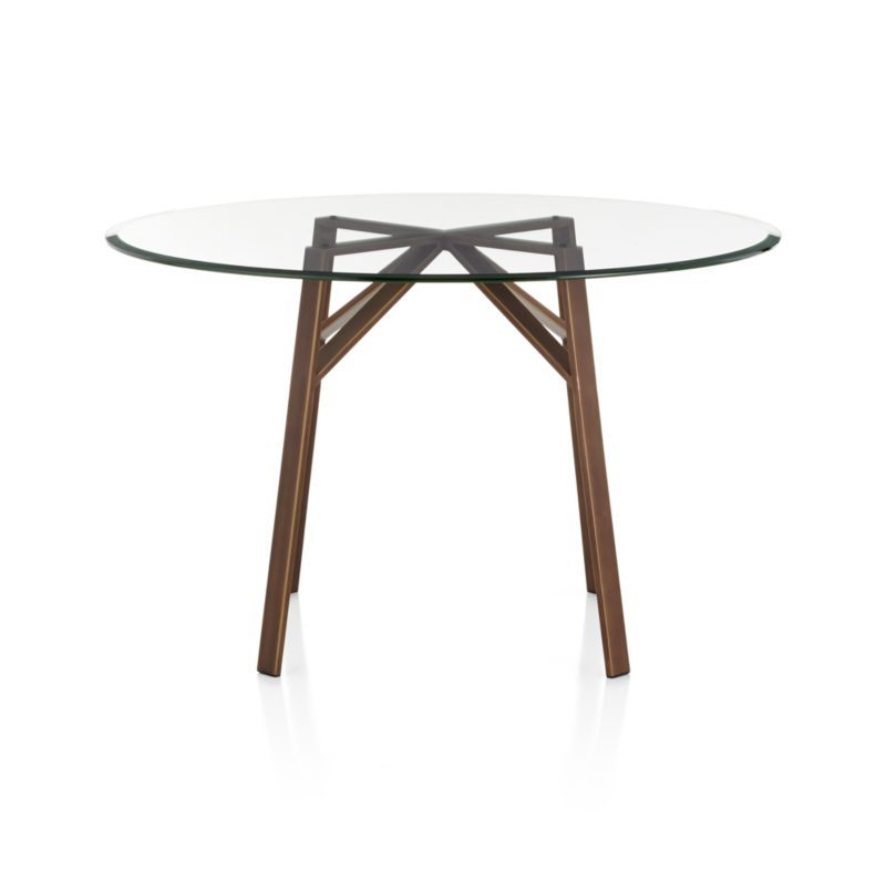 Belden Round Dining Table With 42 Glass Top Crate And Barrel