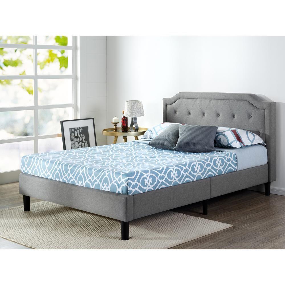 Zinus Kellen Upholstered Scalloped Platform Bed Frame Full Hd