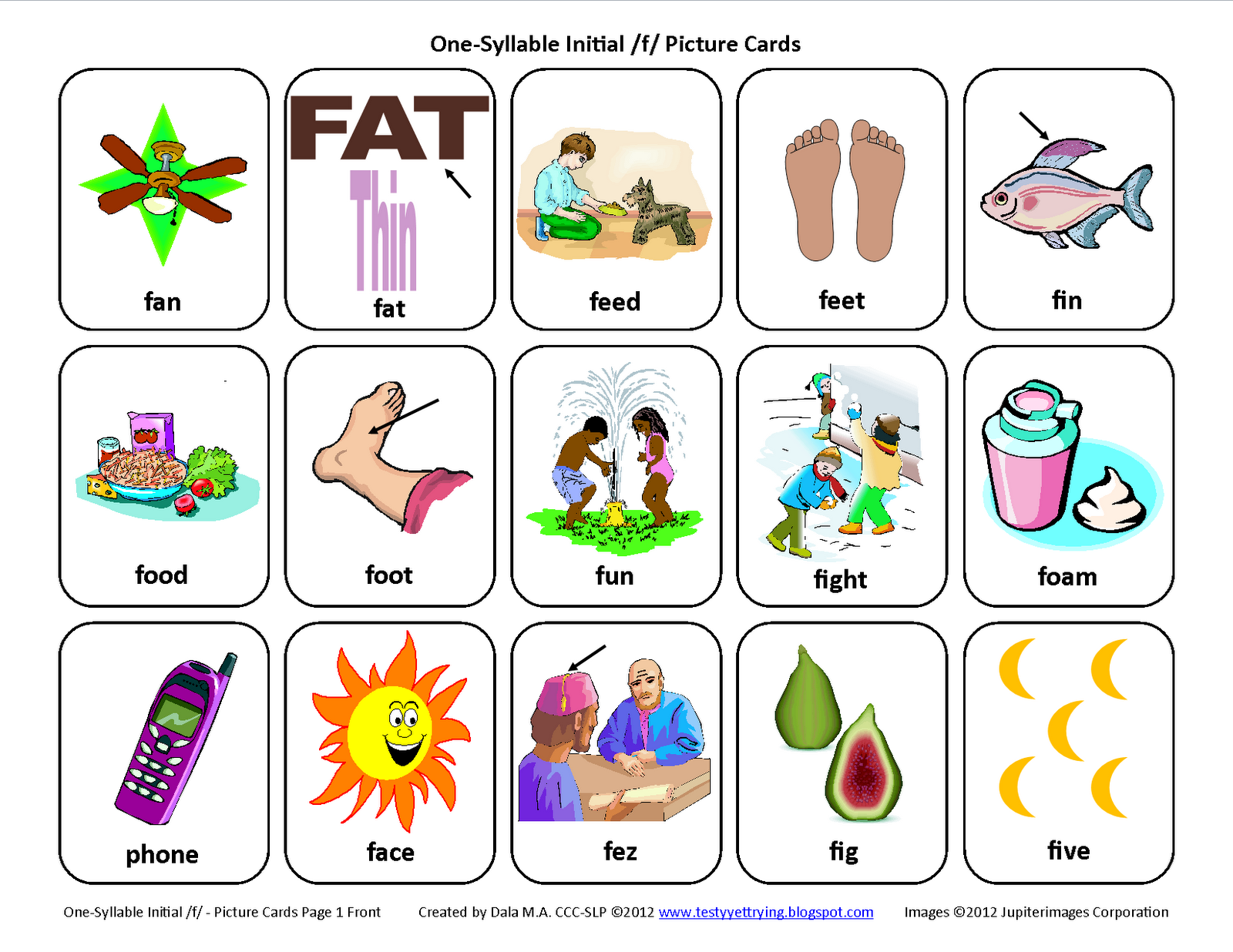 Initial F Free Speech Therapy Articulation Picture Cards