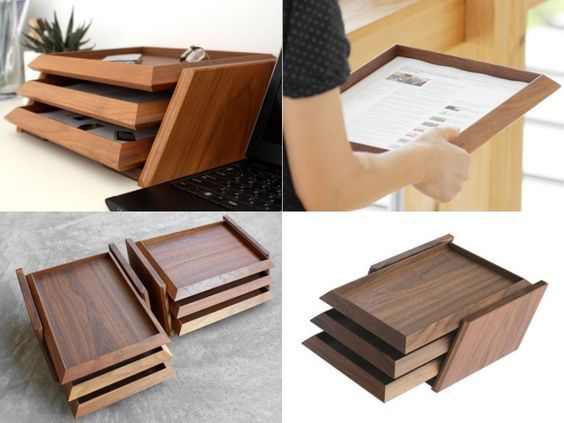 Solid Black Walnut Three Tiered Letter Tray Document Case A4 Ablage Holz Und Buero