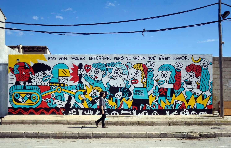 Elias Taño. Mural en el Festival Sensemurs, organizado por Recuperem ...