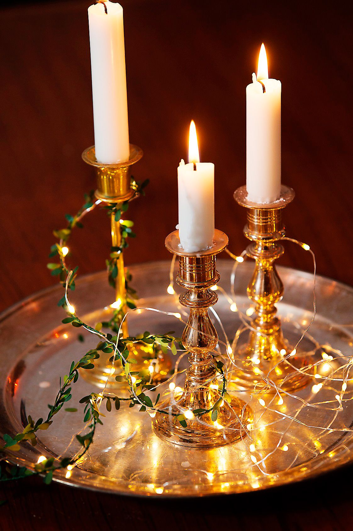 ljusslinga på bordet