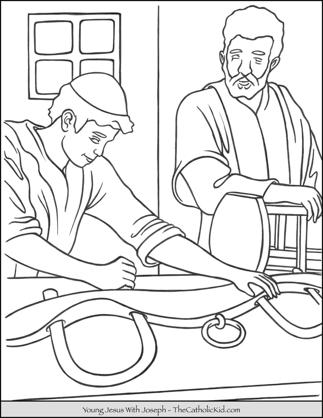 Young Jesus With Joseph Coloring Page Thecatholickid Com Jesus Coloring Pages Coloring Pages Bible Coloring Pages