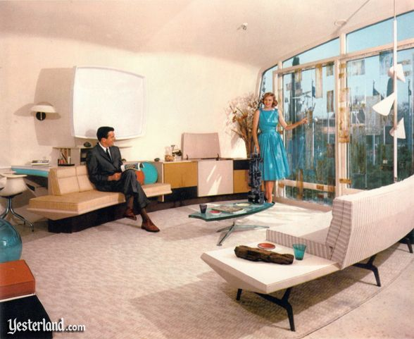 Mod Interior Of The Monsanto House Of The Future In The Late 1950s