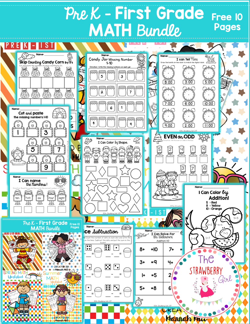 These Free 10 Pages Are From My Math Worksheet Bundle All Seasons Packet Kindergarten Math Worksheets Free Kindergarten Math Free Kindergarten Math Worksheets